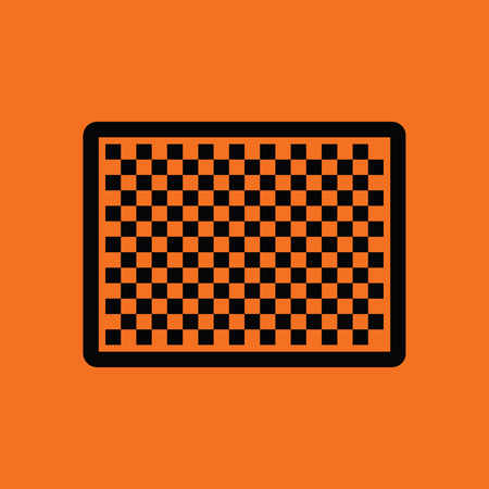 sensor: Icon of photo camera sensor. Orange background with black. Vector illustration.