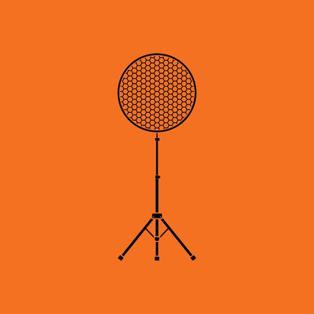 Icon of beauty dish flash. Orange background with black. Vector illustration. Illustration