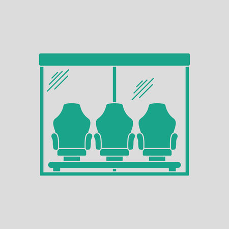 substitute: Soccer players bench icon. Gray background with green. Vector illustration. Illustration