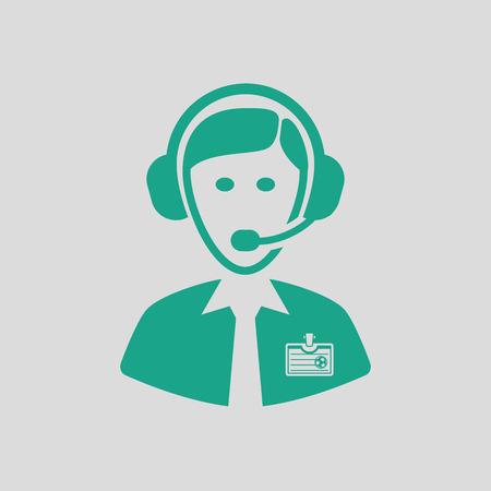 Soccer commentator icon. Gray background with green. Vector illustration. Illustration