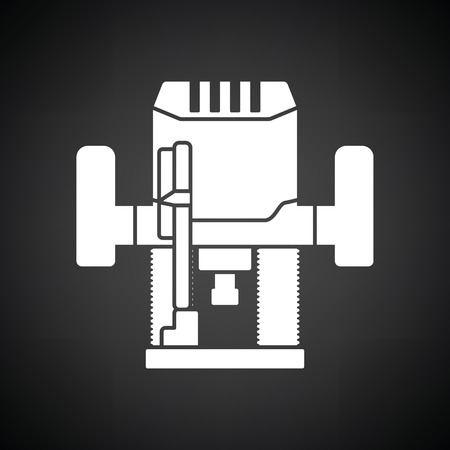 automated tooling: Plunger milling cutter icon. Black background with white. Vector illustration. Illustration