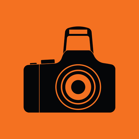 multimedia background: Icon of photo camera. Orange background with black. Vector illustration.