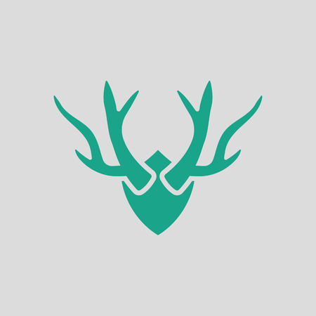 taxidermy: Deers antlers  icon. Gray background with green. Vector illustration. Illustration