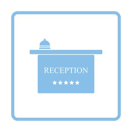 hotel reception: Hotel reception desk icon. Blue frame design. Vector illustration. Illustration