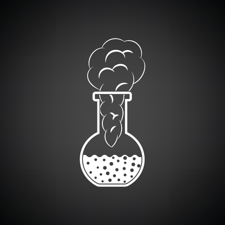 Icon of chemistry bulb with reaction inside. Black background with white. Vector illustration.