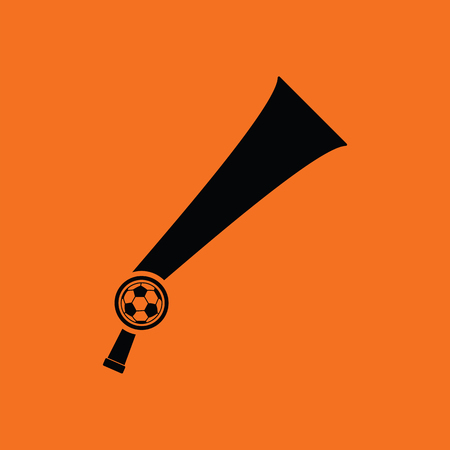 Football fans wind horn toy icon. Orange background with black. Vector illustration. Illustration
