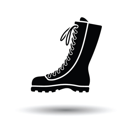 hiking boot: Hiking boot icon. White background with shadow design. Vector illustration.