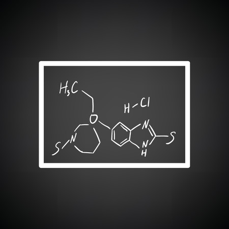 hexa: Icon of chemistry formula on classroom blackboard. Black background with white. Vector illustration.