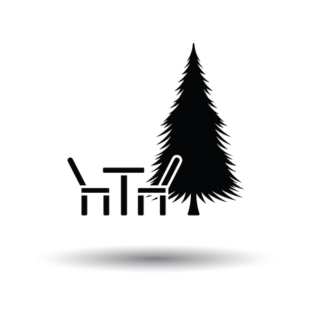 Park seat and pine tree icon. White background with shadow design. Vector illustration. Illustration