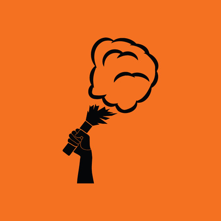 Football fans hand holding burned flayer with smoke icon. Orange background with black. Vector illustration.