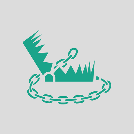 bear trap: Bear hunting trap  icon. Gray background with green. Vector illustration.
