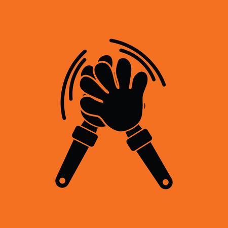 applaud: Football fans clap hand toy icon. Orange background with black. Vector illustration. Illustration