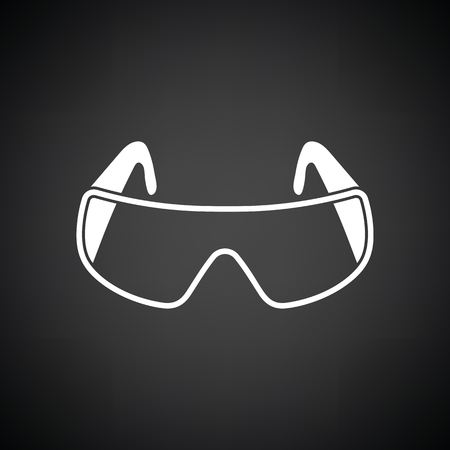 eyewear: Icon of chemistry protective eyewear. Black background with white. Vector illustration.