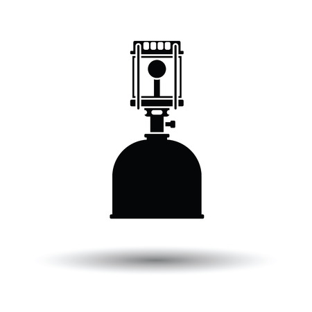 fillup: Camping gas burner lamp icon. White background with shadow design. Vector illustration.