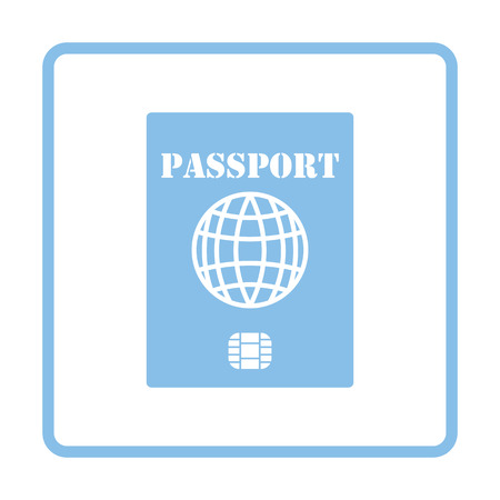 customs official: Passport with chip icon. Blue frame design. Vector illustration. Illustration