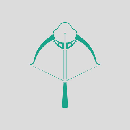 arbalest: Crossbow icon. Gray background with green. Vector illustration. Illustration