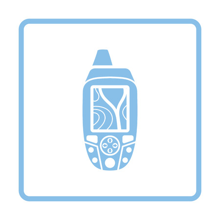 handheld device: Portable GPS device icon. Blue frame design. Vector illustration.