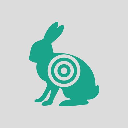 silueta de liebre con icono de destino. Fondo gris con verde. Ilustración del vector. Ilustración de vector