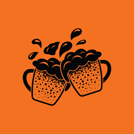 clinking: Two clinking beer mugs with fly off foam icon. Orange background with black. Vector illustration.