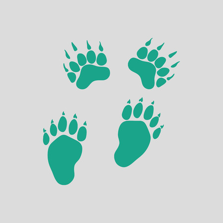 trails: Bear trails  icon. Gray background with green. Vector illustration.