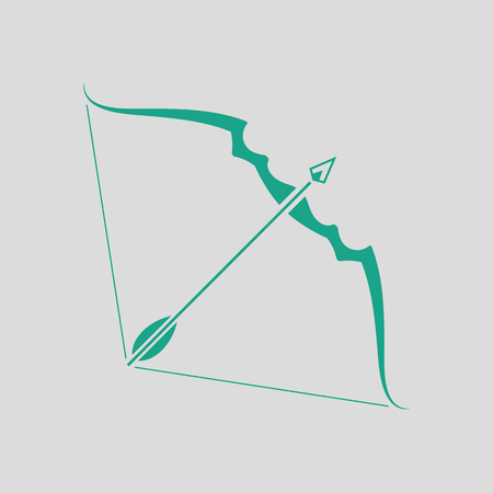longbow: Bow and arrow icon. Gray background with green. Vector illustration.