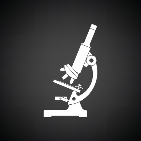 Icon of chemistry microscope. Black background with white. Vector illustration. Stok Fotoğraf - 64101953