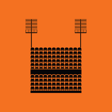 tribune: Stadium tribune with seats and light mast icon. Orange background with black. Vector illustration.