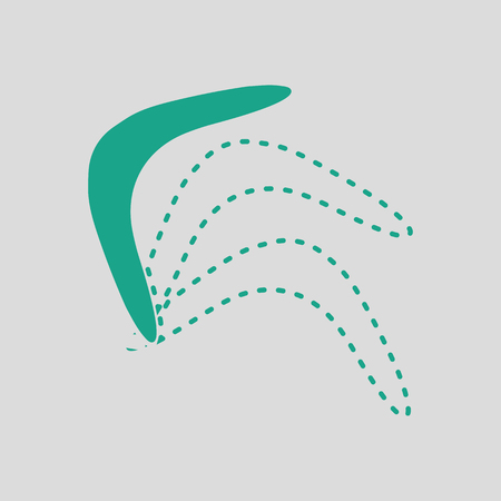 artifact: Boomerang  icon. Gray background with green. Vector illustration.