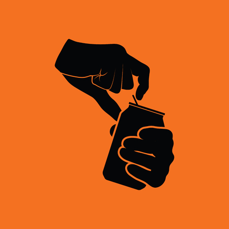 refreshments: Human hands opening aluminum can icon. Orange background with black. Vector illustration.