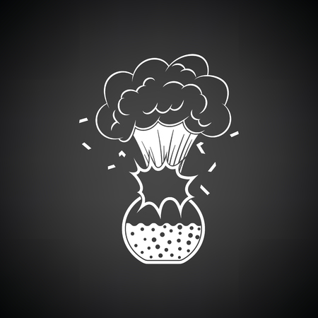 Icon explosion of chemistry flask. Black background with white. Vector illustration.