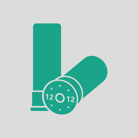 ammo: Ammo from hunting gun icon. Gray background with green. Vector illustration.