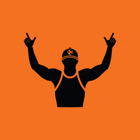 Football fan with hands up icon. Orange background with black. Vector illustration. Illustration