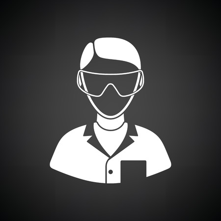 eyewear: Icon of chemist in eyewear. Black background with white. Vector illustration.