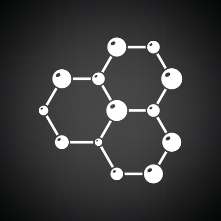 Icon of chemistry hexa connection of atoms. Black background with white. Vector illustration.