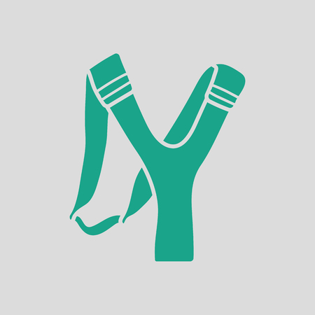 stretch: Hunting  slingshot  icon. Gray background with green. Vector illustration. Illustration