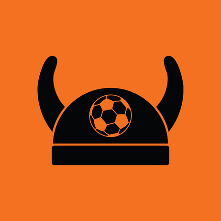 sport fan: Football fans horned hat icon. Orange background with black. Vector illustration.