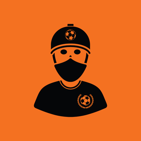 face covered: Football fan with covered  face by scarf icon. Orange background with black. Vector illustration.