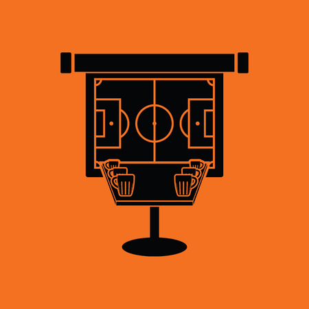 bar table: Sport bar table with mugs of beer and football translation on projection screen icon. Orange background with black. Vector illustration. Illustration