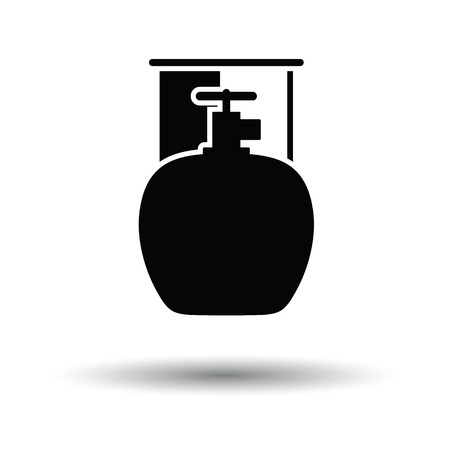 fillup: Camping gas container icon. White background with shadow design. Vector illustration.
