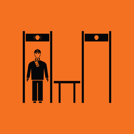 inspecting: Stadium metal detector frame with inspecting fan icon. Orange background with black. Vector illustration. Illustration