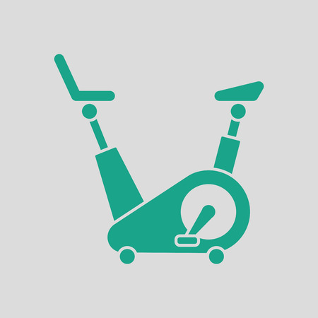 Exercise bicycle icon. Gray background with green. Vector illustration. Illustration