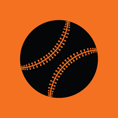 major league: Baseball ball icon. Orange background with black. Vector illustration.