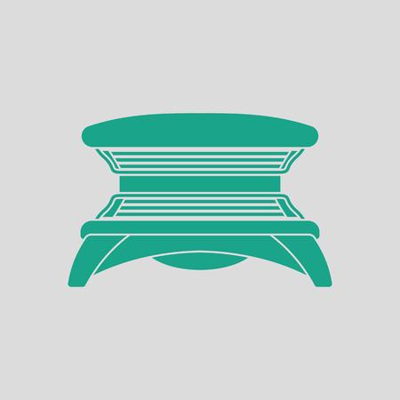 icono de solarium. Fondo gris con verde. Ilustración del vector.