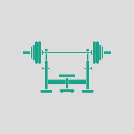 barbel: Bench with barbel icon. Gray background with green. Vector illustration.