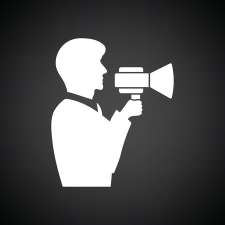 mouthpiece: Man with mouthpiece icon. Black background with white. Vector illustration.