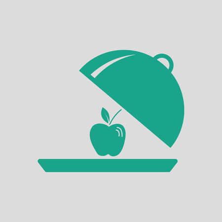 Apple inside cloche icon. Gray background with green. Vector illustration.