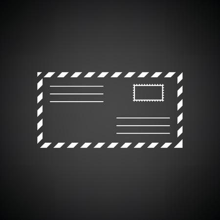 postscript: Letter icon. Black background with white. Vector illustration. Illustration