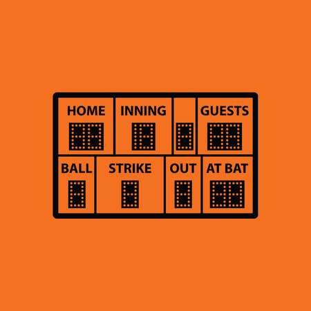 inning: Baseball scoreboard icon. Orange background with black. Vector illustration.