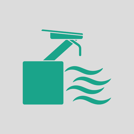 diving platform: Diving stand icon. Gray background with green. Vector illustration.