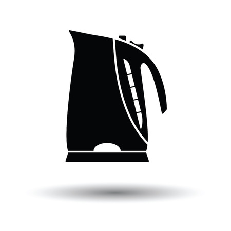 electric kettle: Kitchen electric kettle icon. White background with shadow design. Vector illustration.
